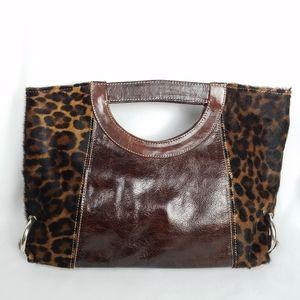 Leather leopard fur handbag hand bag Vintage